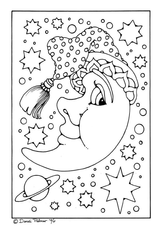kleurplaat mannetje maan afb 9213