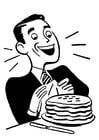 Kleurplaat man met pannenkoeken