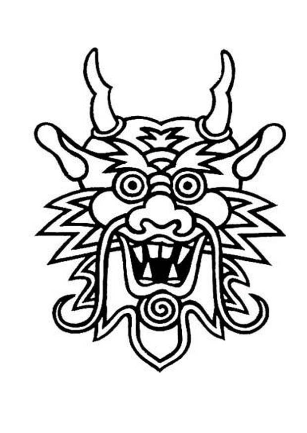 Kleurplaat masker draak - Afb 12993  Images