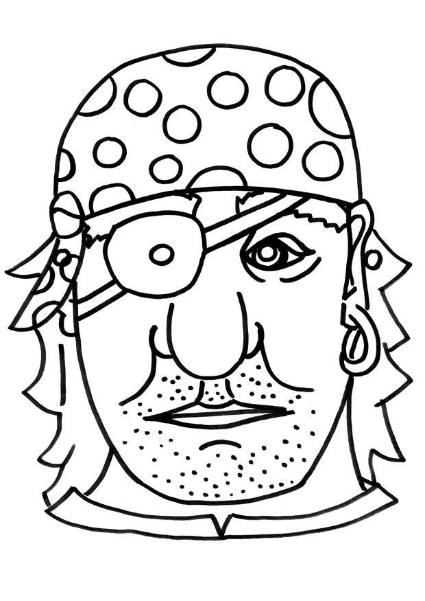 Kleurplaat masker piraat afb 9183 for Maschere stampabili