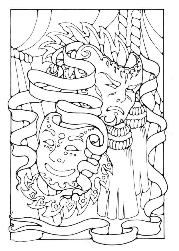 Kleurplaat Maskers Afb 16354
