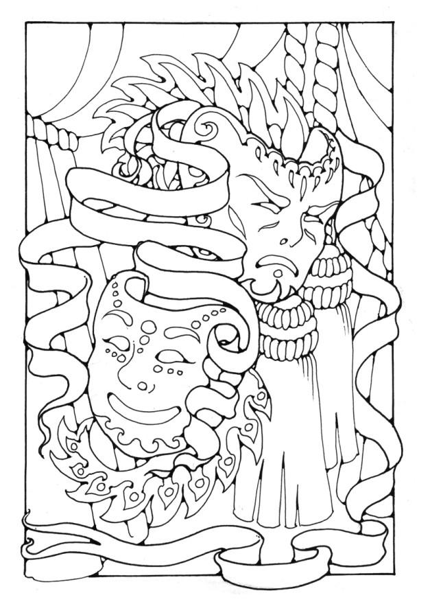 coloring pages of drama masks - photo#4