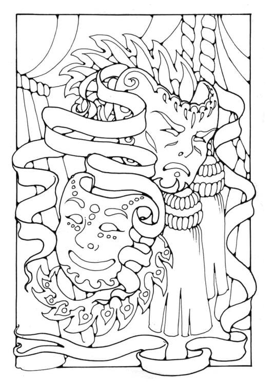 Kleurplaten En Maskers.Kleurplaat Maskers Afb 16354