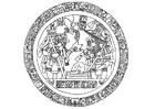 Kleurplaat Maya afbeelding in cirkel