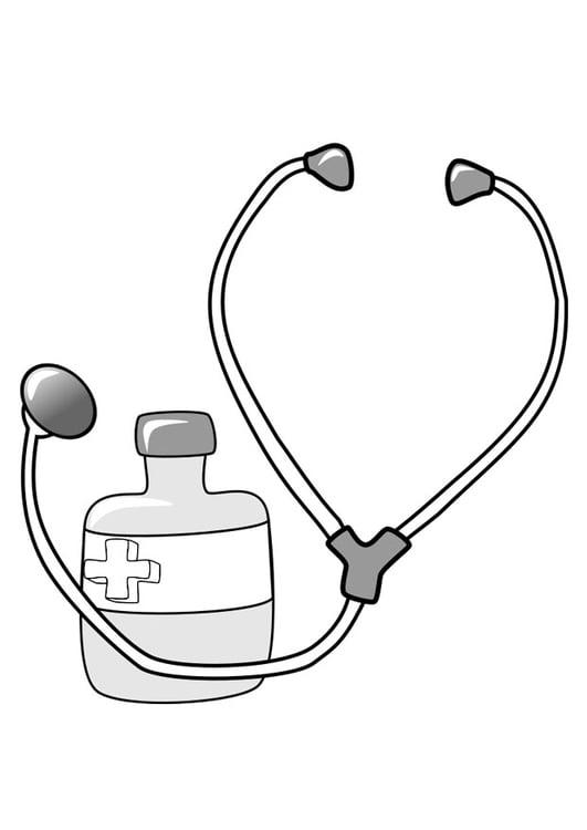 kleurplaat medicijn en stethoscoop afb 22390