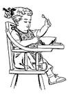 Kleurplaat meisje in hoge stoel