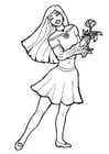 Kleurplaat meisje met bloem