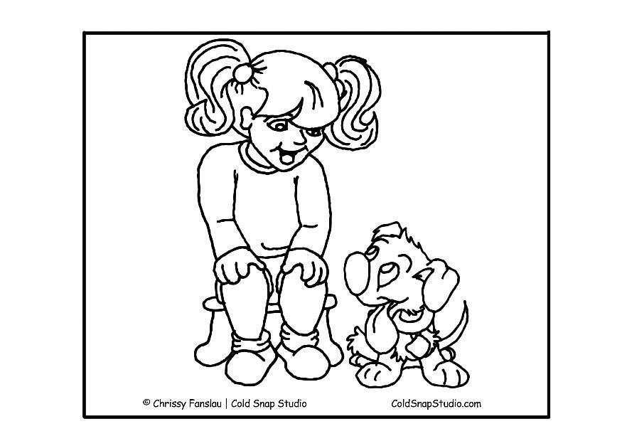 Afbeeldingen Honden Kleurplaat Kleurplaat Meisje Met Hond Afb 17432