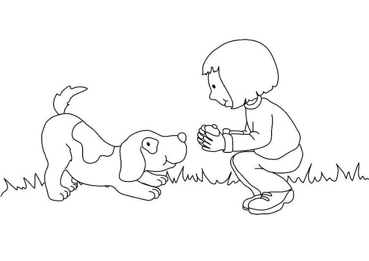Kleurplaat Meisje Met Hond Afb 17431