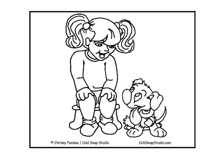 kleurplaat meisje met hond gratis kleurplaten om te printen