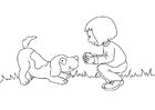 Kleurplaat meisje met hond
