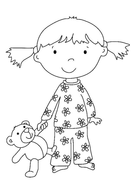 Kleurplaat Meisje Met Knuffel Afb 7324