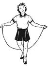 Kleurplaat meisje met springtouw