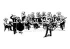Kleurplaat mexicaans orkest