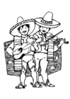 Kleurplaat mexicaanse muzikanten