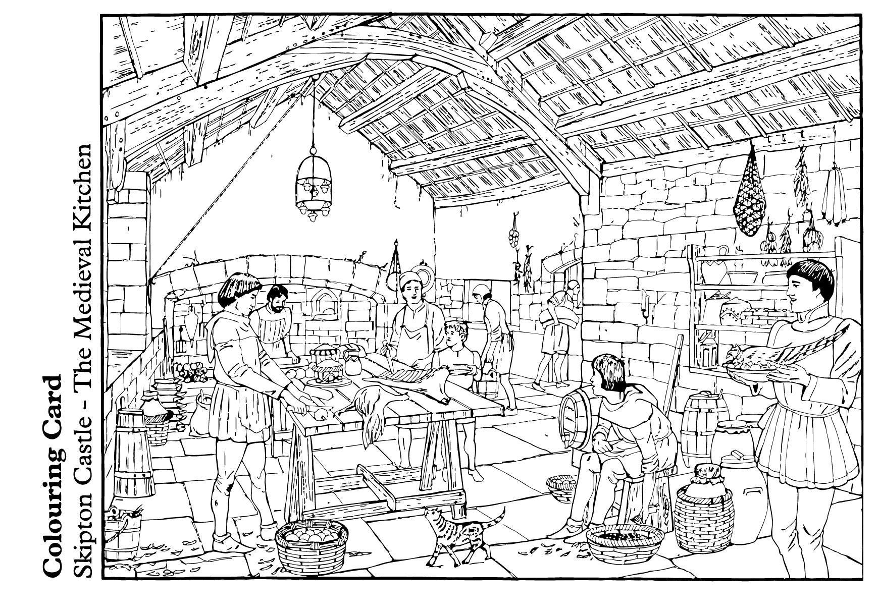Gratis Kleurplaten Middeleeuwen.Kleurplaat Middeleeuwse Keuken Gratis Kleurplaten Om Te