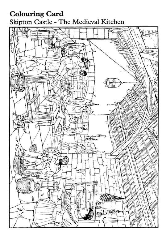Kleurplaat Middeleeuwse Keuken Afb 14893