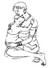 Kleurplaat moeder en kind