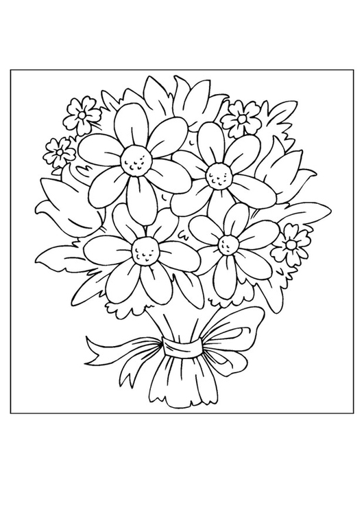 Букет цветов картинка раскраска