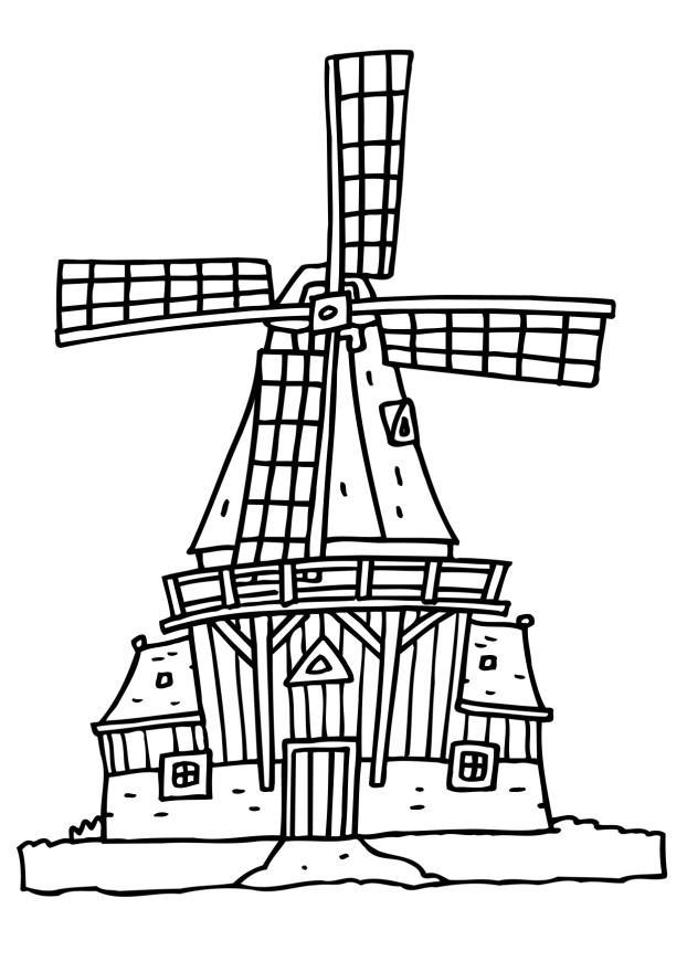kleurplaat molen afb 6525