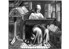 Kleurplaat monnik aan het werk