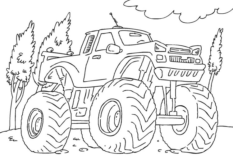 Kleurplaat Monstertruck Afb 27165