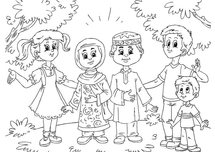 kleurplaat moslim kinderen bij westerse kinderen gratis