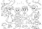 Kleurplaat Moslim kinderen bij Westerse kinderen