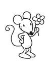Kleurplaat muis met bloem