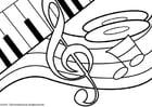 Kleurplaat muziek thema