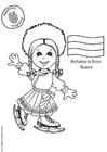 Kleurplaat Natasha met Russische vlag