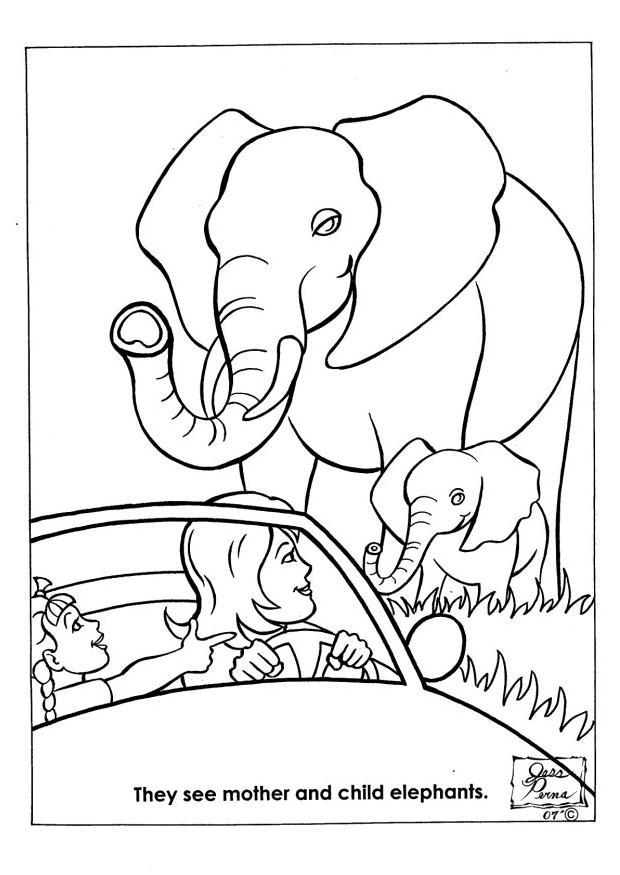 Kleurplaat natuurpark olifanten - Afb 7948.