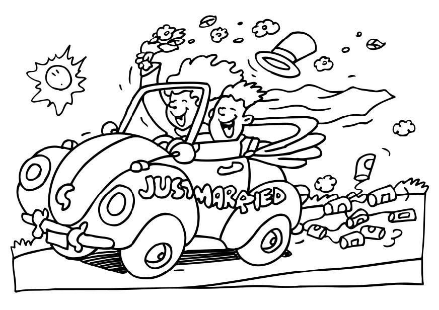 Car Themed Coloring Pages : Kleurplaat net getrouwd afb