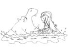 Kleurplaat nijlpaarden