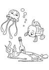 Kleurplaat octopus en vis met fles