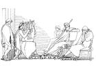 Kleurplaat Oddyseus en Demodocus