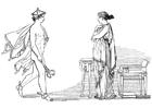 Kleurplaat Oddyseus - Hermes beveelt Calypso de vrijlating van Oddyseus