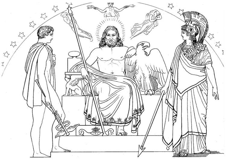 Kleurplaat Oddyseus Hermes Zeus En Athena Afb 18657