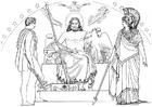 Kleurplaat Oddyseus - Hermes, Zeus en Athena