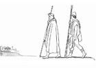 Kleurplaat Oddyseus - Minerva komt aan in Pylos