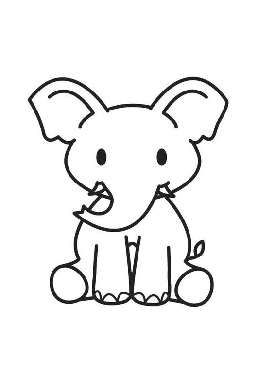 kleurplaat olifant afb 17586
