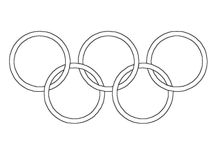 Kleurplaat Olympische Ringen Afb 12016