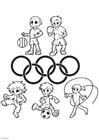 kleurplaat olympische ringen afb 4305