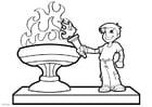 Kleurplaat olympische vlam