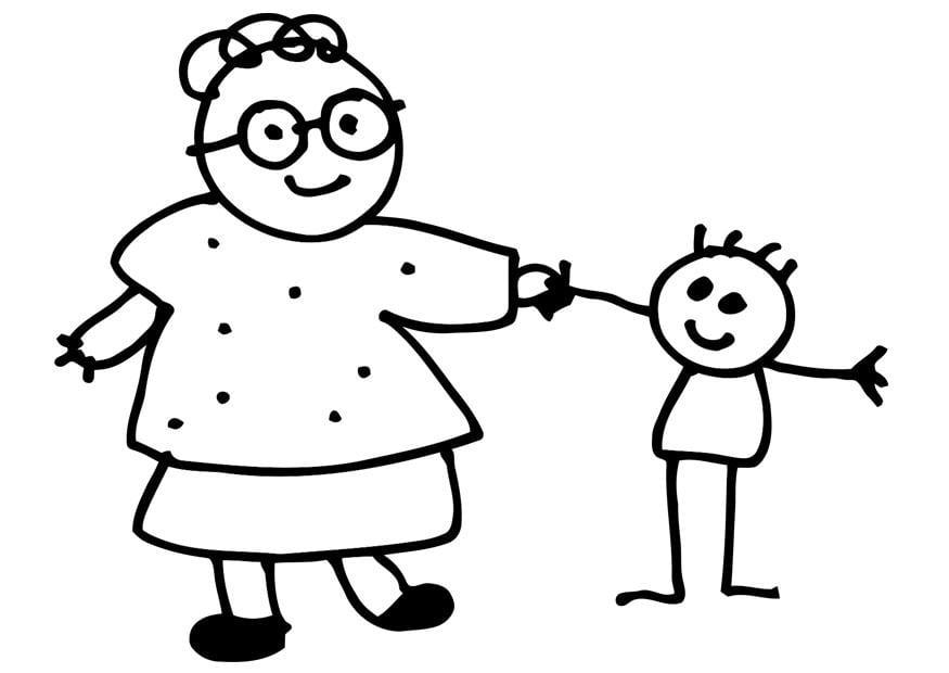 kleurplaten oma en kleinkind