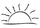 Kleurplaat ondergaande zon