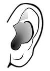 Kleurplaat oor - stilte
