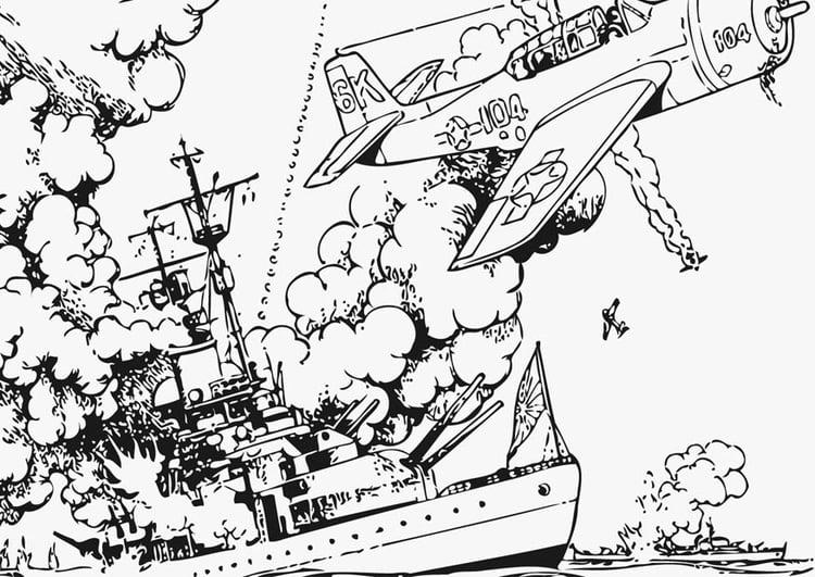 Kleurplaat Militair Kleurplaat Oorlog Op Zee Afb 12802