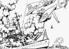 Kleurplaat oorlog op zee