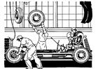 Kleurplaat oude autofabriek